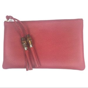 Gucci #449652 Red Bamboo Tassel Clutch/Pouch